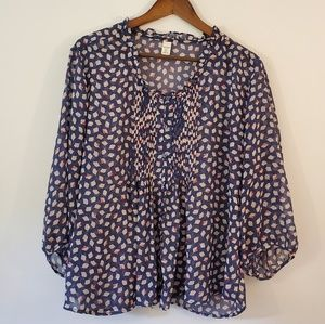 Old Navy floral bud print sheer blouse XL